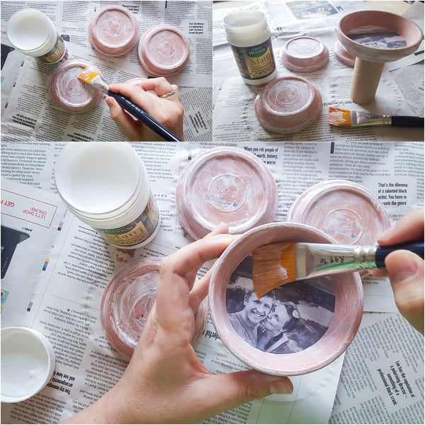 Using mod podge to seal photos into terra cotta coasters