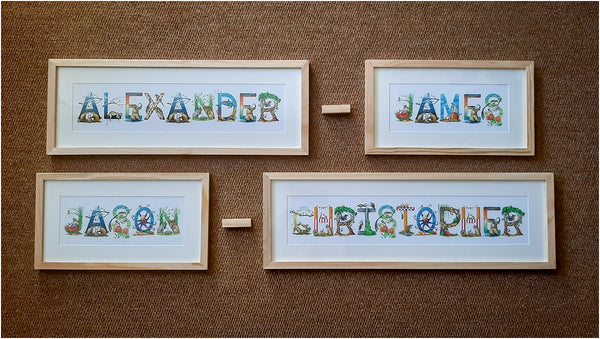 double barrel baby names personalised wall art