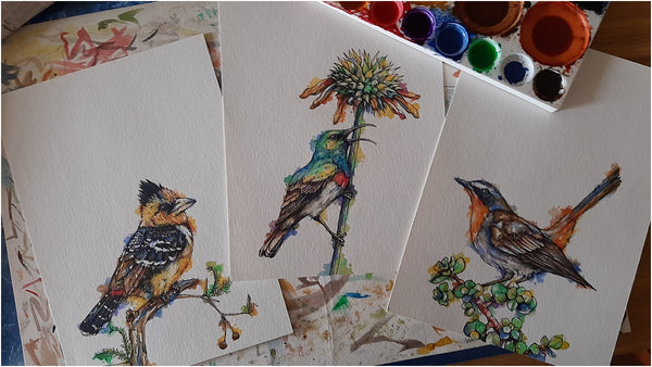 set of three pen and watercolour garden birds from south africa