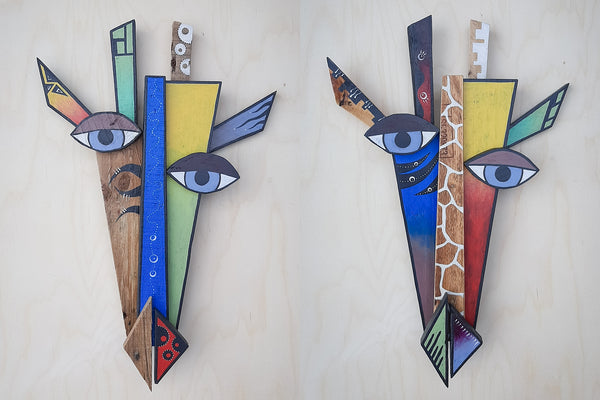 giraffe masks made from recycled pallet wood