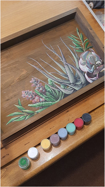 hand made succulent wreath serving tray