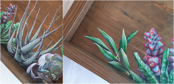 hand painted succulent wreath serving tray