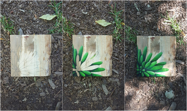 hand painted succulent on pallet wood work in progress