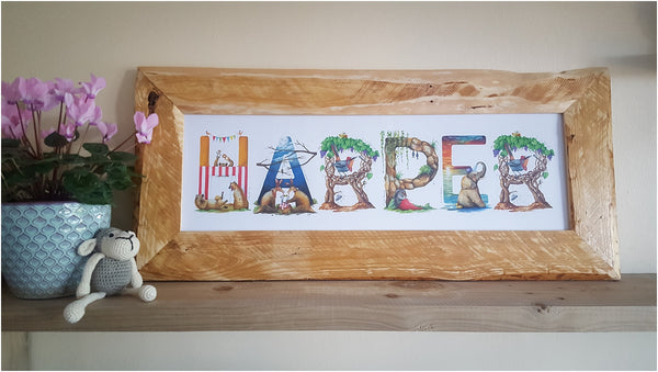 custom south african animal alphabet name and pallet wood frame