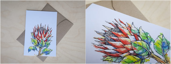 watercolour and pen protea greeting card