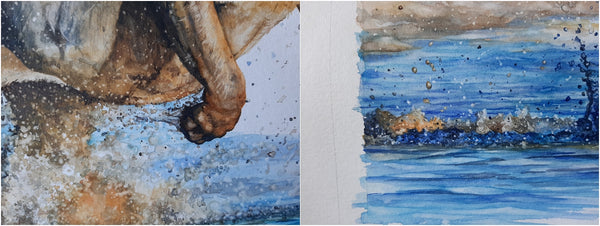 details of lioness running through water watercolour