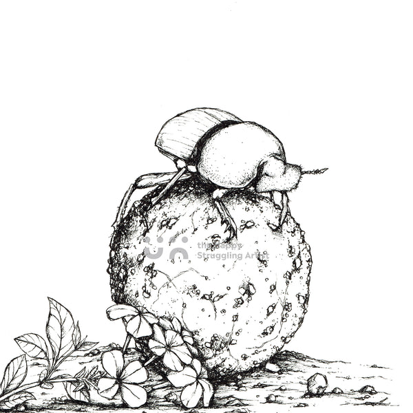 Monochrome Dung Beetle Downloadable Wall Art