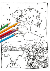 Sea Cow Jumped Over the Moon Colouring Page (Kiddies)