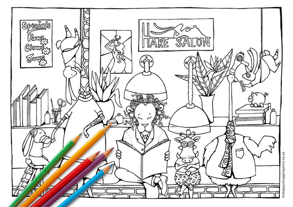 Hare Salon Colouring Page (Kiddies)