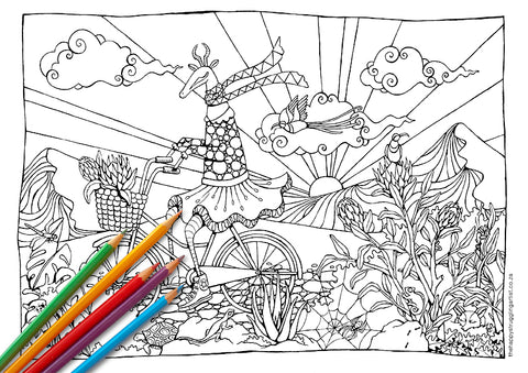Biking Bokkie Colouring Page (Advanced)