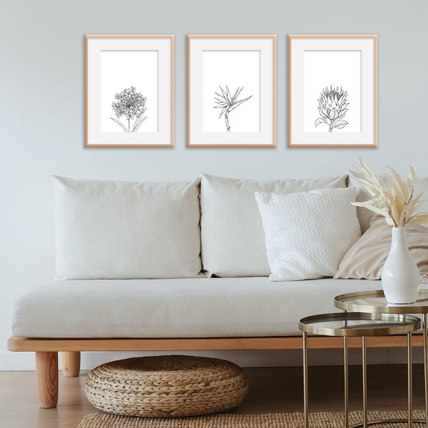 Monochrome Downloadable Wall Art: Set of 3 SA Flowers
