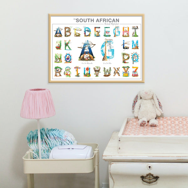 Personalised TWIN Animal Alphabet Poster