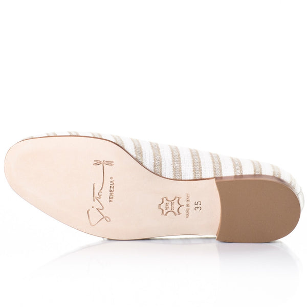 Tan Stripe Smoking Slippers