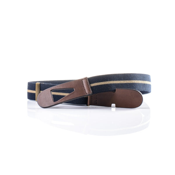 Riga belt - Navy with Cream Stripe