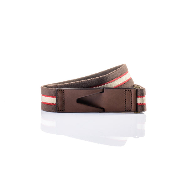 Riga belt - Chocolate brown, Cream & Red
