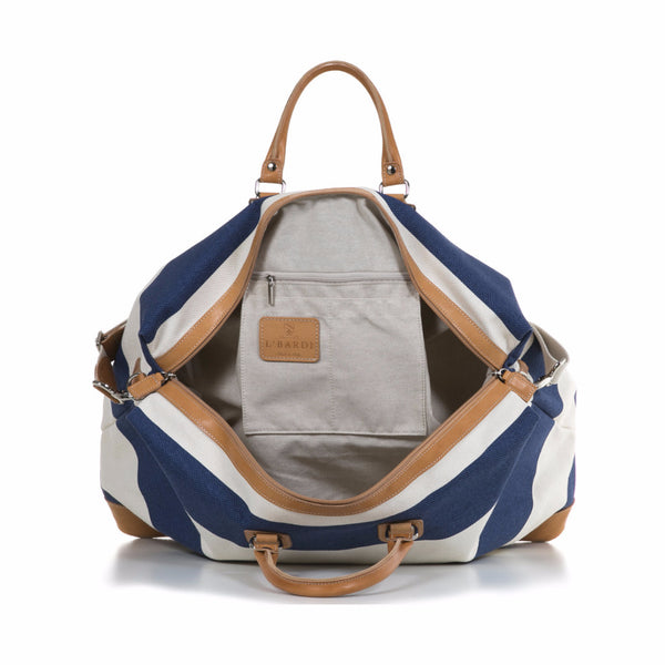 Azure and White Stripe Canvas and Vegetable Tanned Leather Weekender