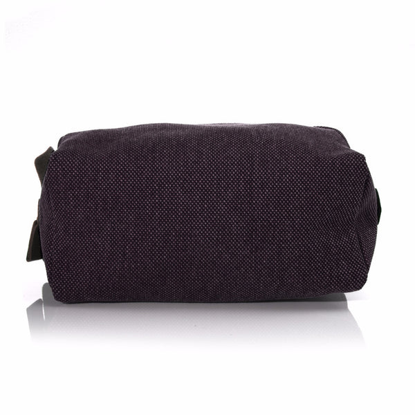 Bordeaux Washed Canvas and Pebble Leather Shaving Bag