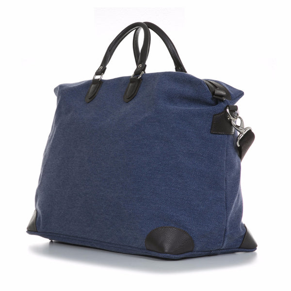 Denim Blue Washed Canvas and Pebble Leather Weekender
