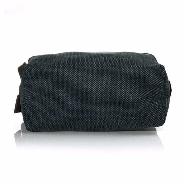 Hunter Green Washed Canvas and Pebble Leather Shaving Bag