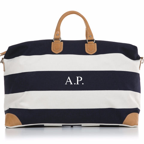 Navy and White Stripe Canvas and Vegetable Tanned Leather Weekender