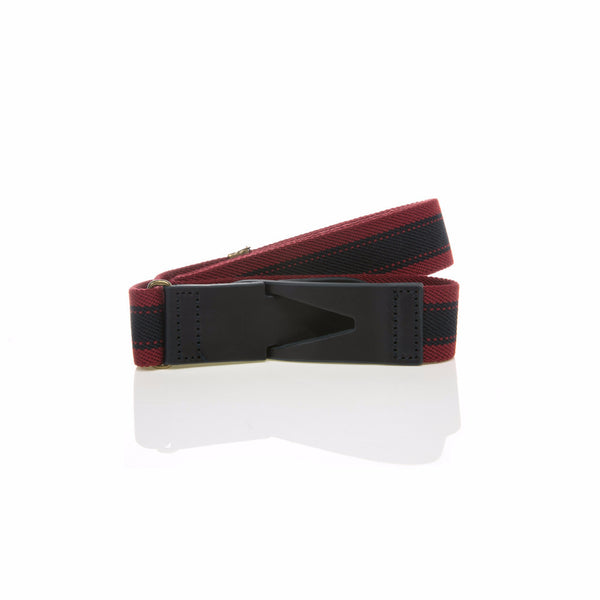 Riga belt - Venetian Red with Large Navy Stripe