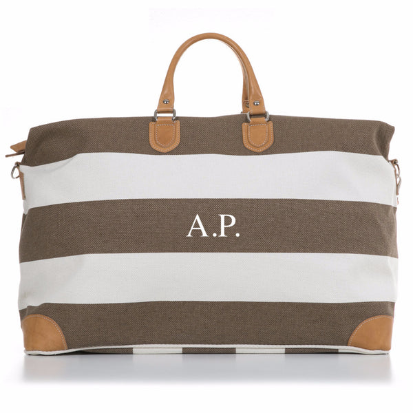 Tan and White Stripe Canvas and Vegetable Tanned Leather Weekender