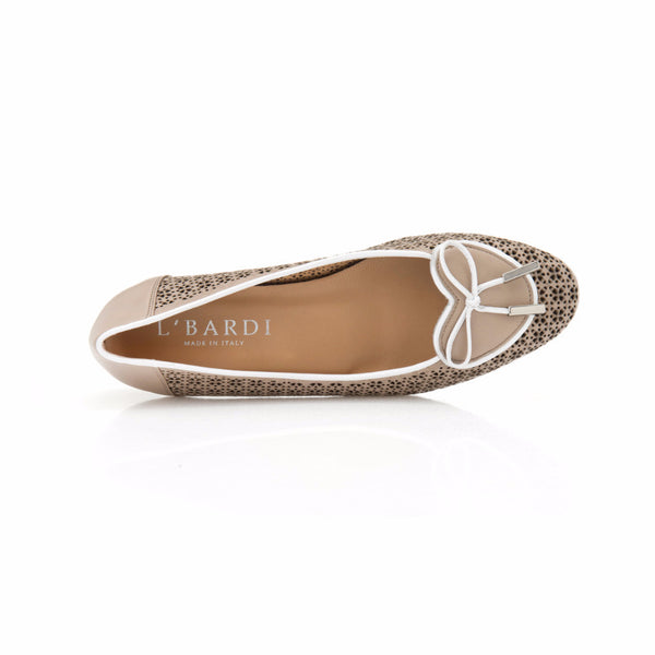 Beige and White Leather Heart Shaped Ballet Flat