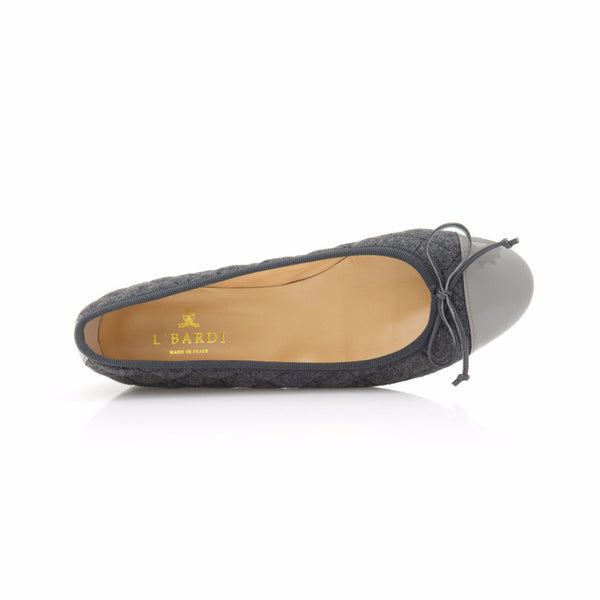 Grey Quilted Flannel Ballet Flat