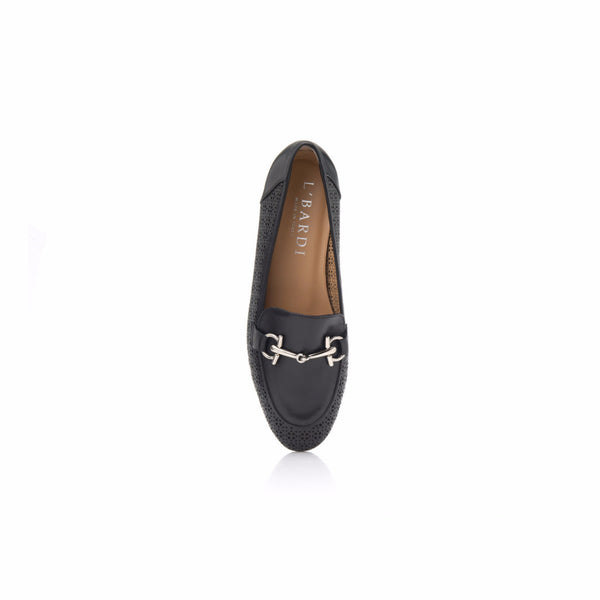 Black Nappa Horsebit Loafer
