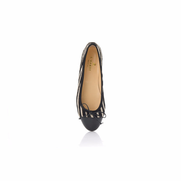 Zebra Print Calf Hair Leather Ballet Flat
