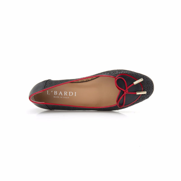 Black and Red Patent Leather Heart Shaped Ballet Flat