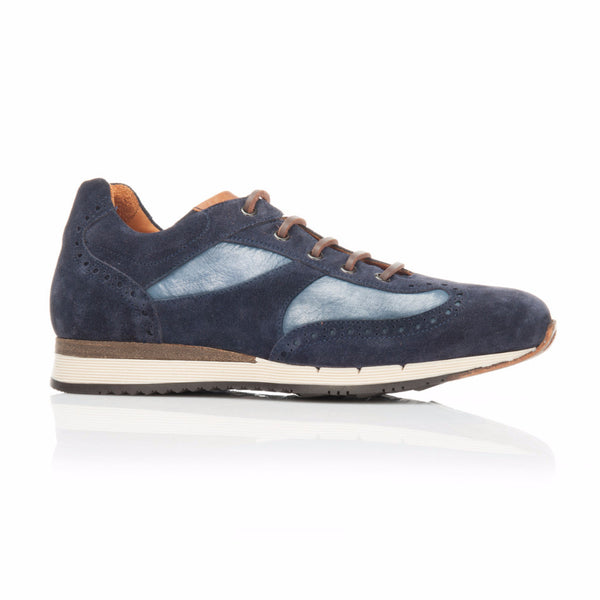 Navy Suede and Azzurro Nubuck Trainer