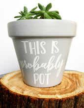 Load image into Gallery viewer, This Is Probably Pot Gray pot - Gardening Humor - Custom Pot - Flower Pot - Weed Humor - Pot Humor - Birthday Gift - Knox Pots - Knox Pot