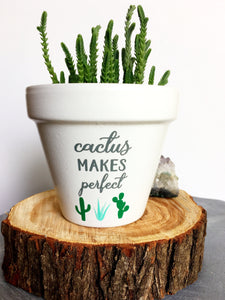 Cactus Makes Perfect - Plant Pun - Cute Flower Pot - Funny Flower Pot - Gift for Gardener - Gardening Humor - Knox Pots - Knox Pot - Pot Pun