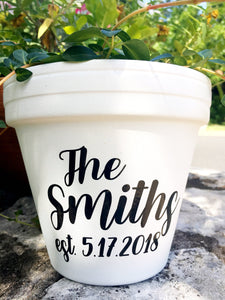 Last Name & Wedding Date Planter - Personalized Wedding Gift - Personalized Anniversary Gift - Custom Wedding Gift - Custom Pot - Knox Pots