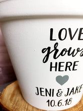Load image into Gallery viewer, Love Grows Here with Names & Date - Wedding Gift - Unity Ceremony - Wedding - Personalized Pot  - Cute Flower Pot - Knox Pots - Knox Pot