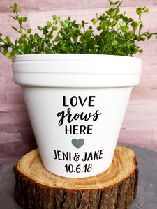 Love Grows Here with Names & Date - Wedding Gift - Unity Ceremony - Wedding - Personalized Pot  - Cute Flower Pot - Knox Pots - Knox Pot