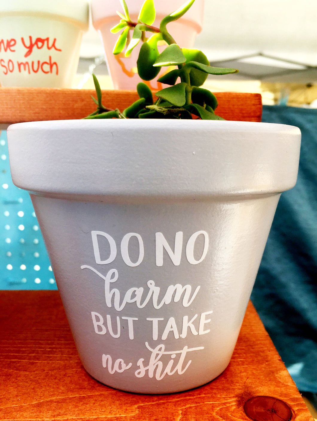 Do No Harm But Take No Shit Pot - Custom Pot - Flower Pot - Funny Flower Pot - Inspirational Gift - Personalized Pot - Knox Pots - Knox Pot