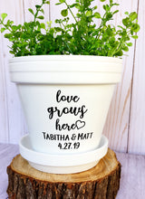 Load image into Gallery viewer, Love Grows Here with Couple Name & Wedding Date - Wedding Gift - Unity Ceremony - Wedding Present - Cute Flower Pot - Knox Pots - Knox Pot