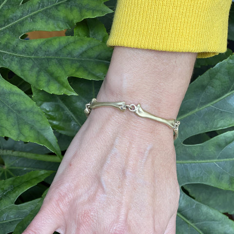 "Bent Brushed Brass ""Bones"" Bracelet"