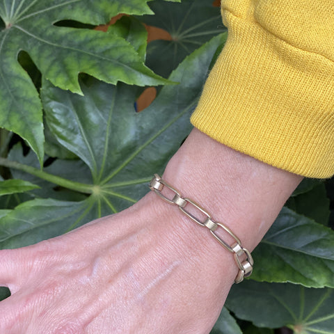"Bent matte brass ""small link"" bracelet"