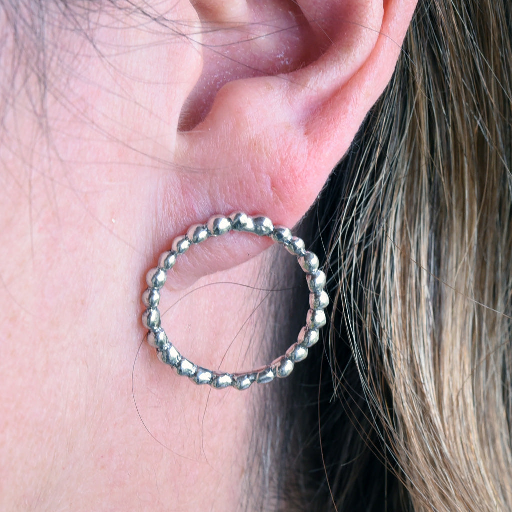 Rusty Thought Silver Beaded Circle Earrings