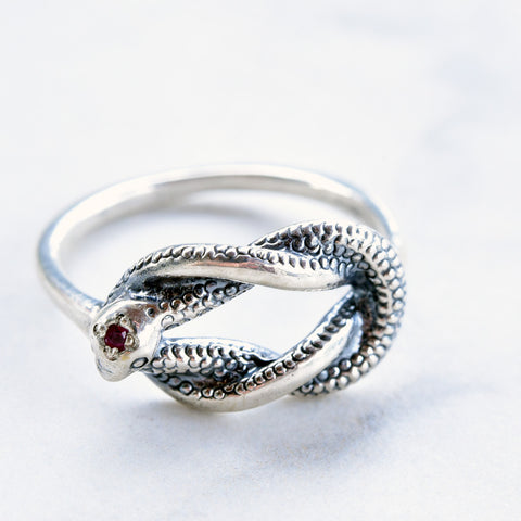Rusty Thought Medium Silver Serpent Knot Ring w/Ruby