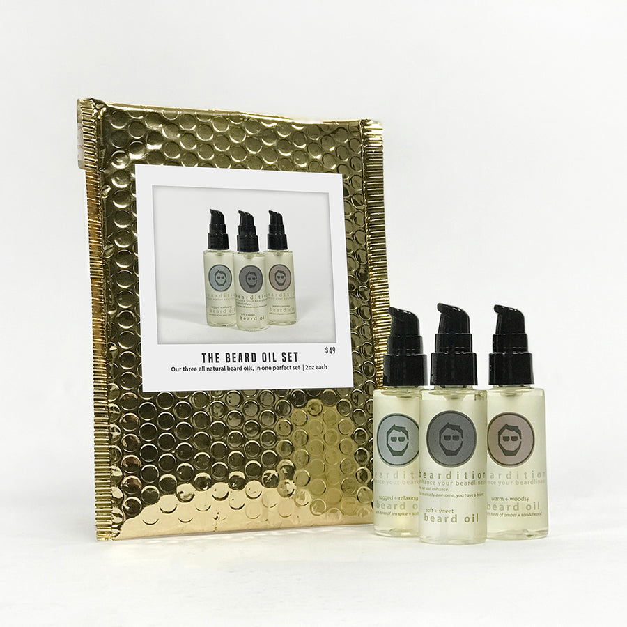 the holiday beard oil set