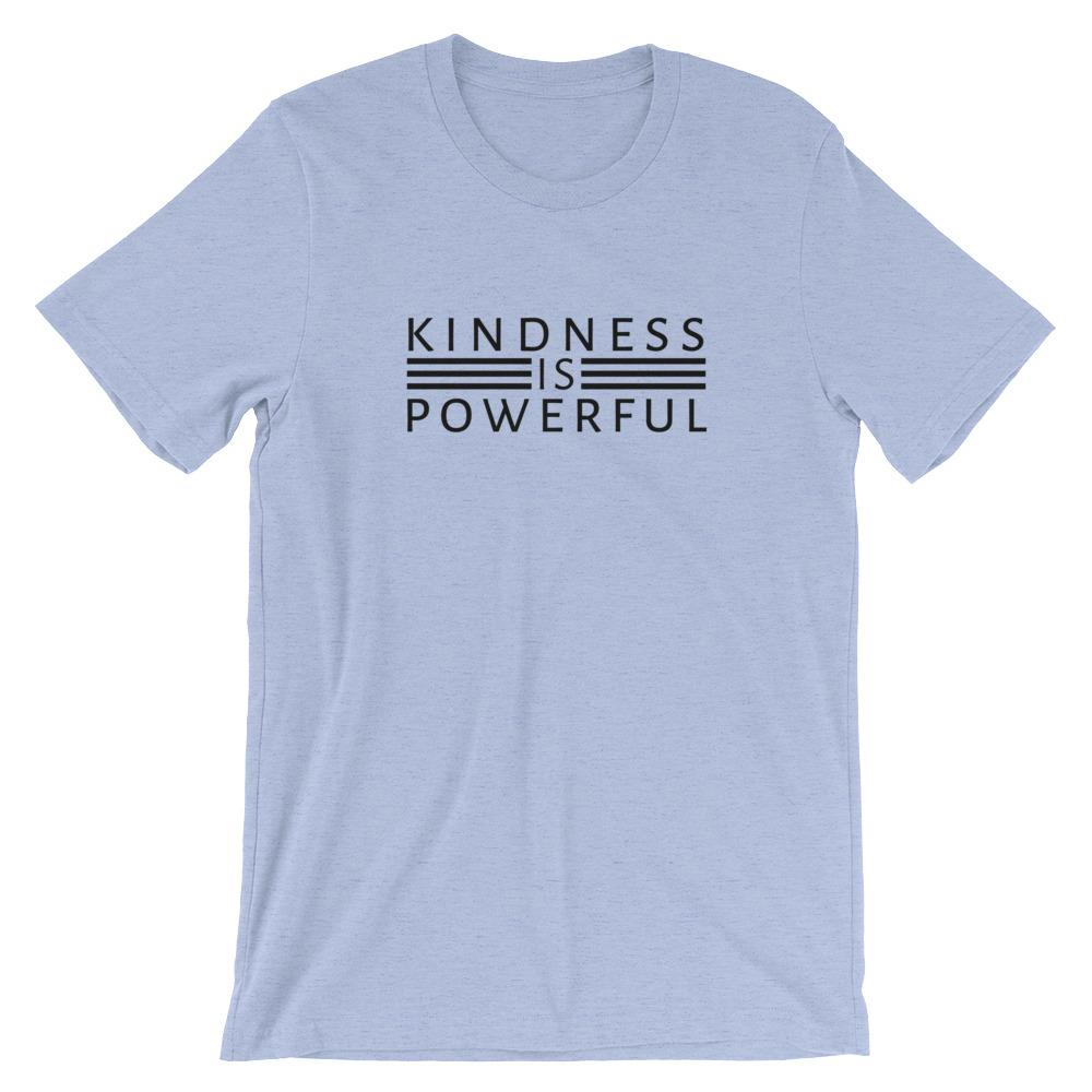 Kindness is Powerful T-Shirt Threaded Wit Heather Blue S