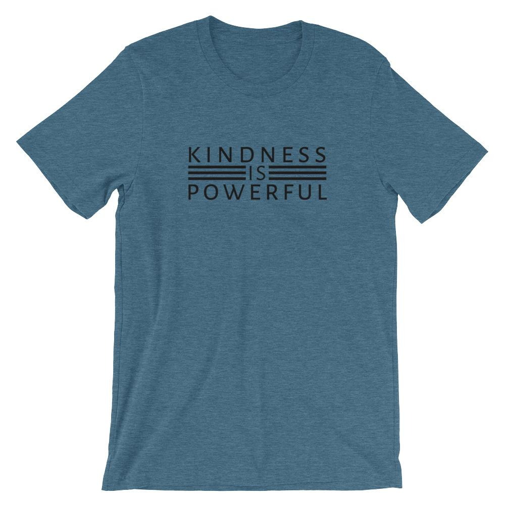 Kindness is Powerful T-Shirt Threaded Wit Heather Deep Teal S