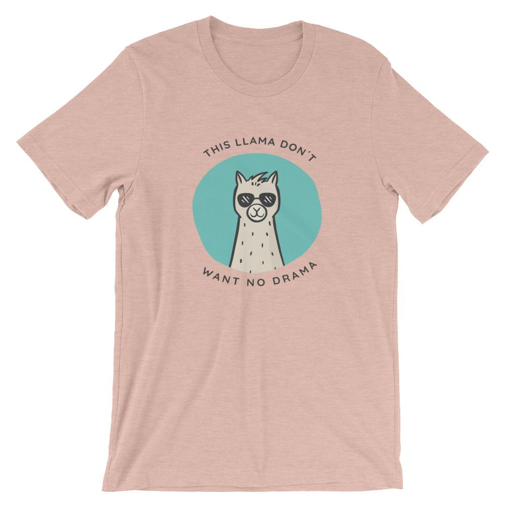This Llama Don't Want No Drama T-Shirt Threaded Wit Heather Prism Peach XS