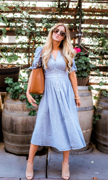 Button up linen midi dress was such a big hit last summer, however it seems this beautiful versatile dress has not cooled down one bit. Fashionistas around the globe still love this style due to its flattering shape and absorbent linen material.