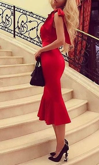 AHRI BOW SHOULDER RED BODYCON DRESS