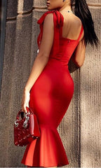 AHRI BOW SHOULDER RED DRESS